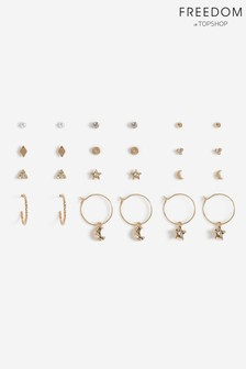 Freedom Star And Moon Multipack Earrings