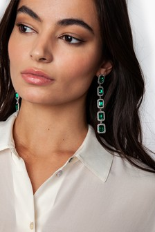 Freedom Emerald And Crystal Stone Drop Earrings