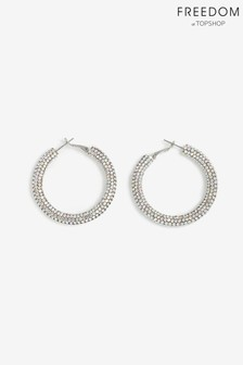 Freedom Rhinestone Tube Hoop Earrings