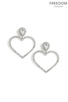 Freedom Crystal Heart Hoop Earrings