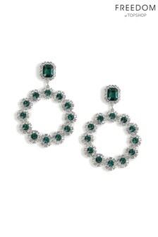 Freedom Emerald Rhinestone Circle Drop Earrings