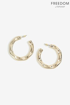 Freedom Gold Solid Hammered Hoop Earrings