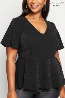 New Look Curve Lurex Peplum Top