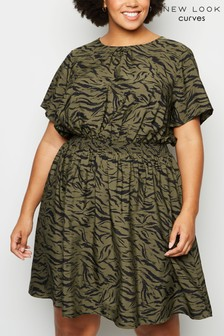 New Look Curve Tiger Print Shirred Waist Dress