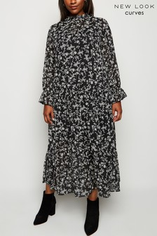 New Look Curve Chiffon Floral Midi Dress