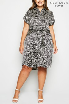 New Look Curve Animal Print Satin Knot Front Dress