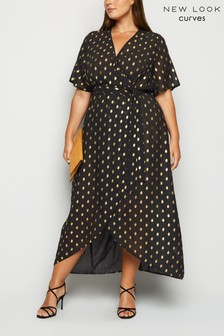 New Look Curve Spot Print High Low Dress