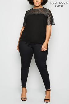 New Look Curve Metallic Lace Top