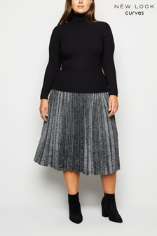New Look Curve Glitter Pleated Midi Skirt
