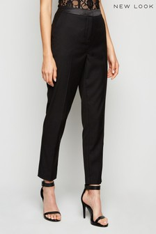 New Look Satin Trim Slim Leg Trousers