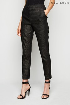 New Look Glitter Jacquard Slim Leg Trousers
