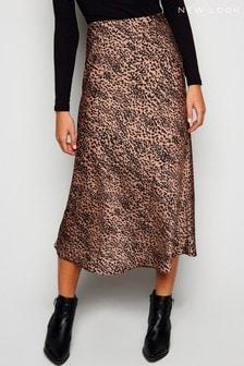 New Look Bias Cut Satin Spot Midi Skirt