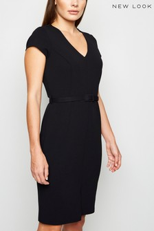 New Look Belted V Neck Front Split Dress