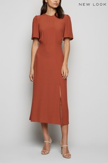 New Look Ruched Front Side Split Midi Dress