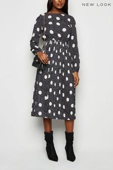 New Look Spot Pleated Midi Dress