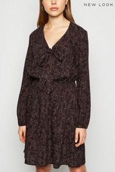 New Look Spot Printed Long Sleeve Knee Length Dress