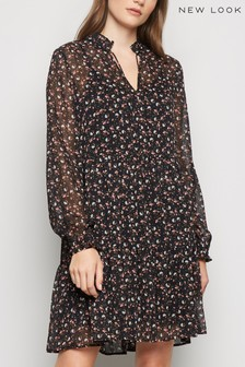 New Look Ditsy Floral Crinkled Smock Dress