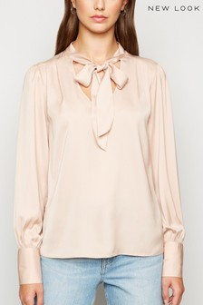 New Look Pussybow Long Sleeve Blouse
