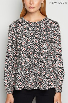 New Look Floral Long Sleeve Peplum Blouse