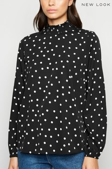 New Look Spot High Shirred Neck Blouse