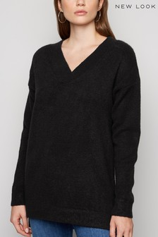 New Look Knit V Neck Longline Jumper