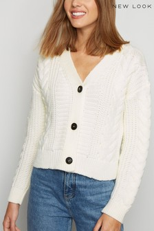 New Look Cable Knit Boxy Cardigan