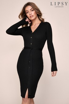 Lipsy Ribbed Button Knitted Dress