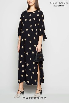 New Look Maternity Spot Print Tie Sleeve Mini Dress