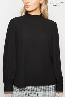 New Look Petite Frill Trim Long Sleeve Blouse