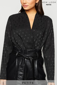 New Look Petite Satin Jacquard Wrap Top