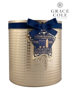 Grace Cole Wishmaker - Reusable Tin containing 250ml Foam Bath, 150ml Body Cream, 150ml Body Wash and Body Polisher