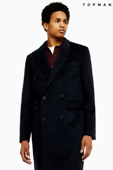 Topman Camel Double Breasted Coat With Wool