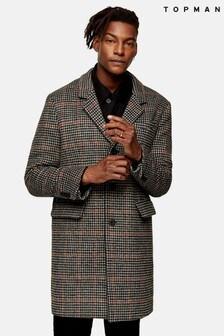 Topman Houndstooth Overcoat