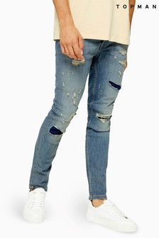Topman Extreme Ripped And Repair Stretch Skinny Jeans
