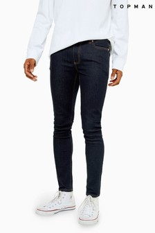 Topman Raw Denim Spray On Jeans