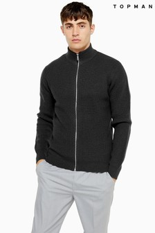 Topman Full Zip Neck Jumper
