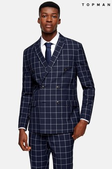 Topman Windowpane Check Double Breasted Skinny Fit Suit Blazer With Peak Lapels