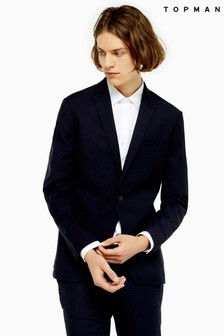 Topman Pin Dot Skinny Fit Single Breasted Suit Blazer With Notch Lapels