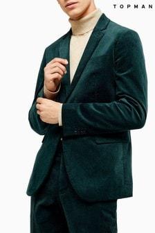 Topman Corduroy Single Breasted Skinny Fit Blazer With Peak Lapels