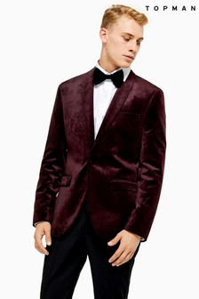 Topman Skinny Fit Single Breasted Velvet Blazer With Shawl Lapel