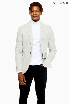 Topman Skinny Fit Warm Handle Single Breasted Blazer With Peak Lapels