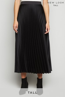 New Look Tall Satin Pleated Midi Skirt