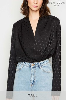 New Look Tall Spot Print Satin Wrap Top