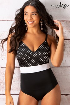 Pour Moi Highline Spot V Neck Swimsuit