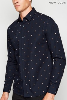 New Look Spot Long Sleeve Poplin Shirt