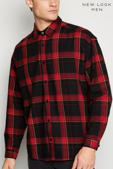 New Look Brushed Check Oversized Shirt