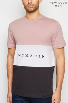 New Look Colour Block MCMXCII Slogan T-Shirt