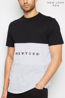 New Look Colour Block New York Slogan T-Shirt