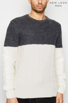 New Look Colour Block Cable Knit Jumper