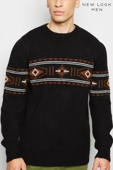 New Look Aztec Crew Neck Jumper